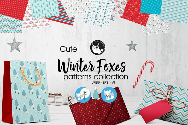 WINTER-FOXES , digital papers