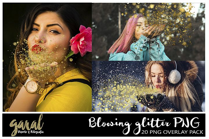 20 Blowing glitter Photoshop Overlays, PNG with transparent background, easy to use, drag and drop, photoshop overlay, glitter, gold glitter