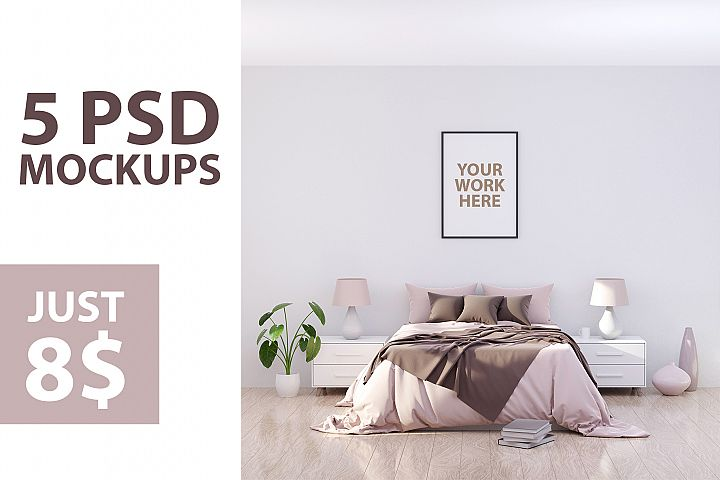 5 Square bedroom wall frame mockups