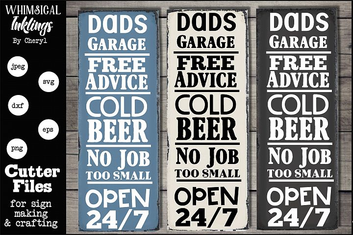 Dads Garage Free Advice Vertical SVG