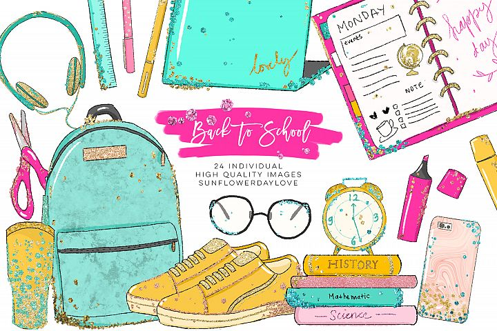 Back to School planner clipart, Watercolor School Clipart