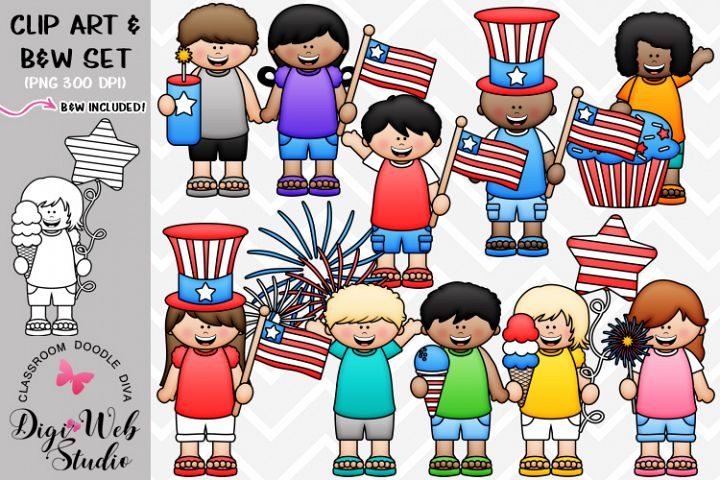 Clip Art / Illustrations - Big Grin July 4 Kids