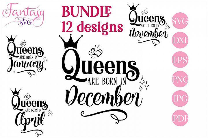 Queens are born in BUNDLE svg cut files