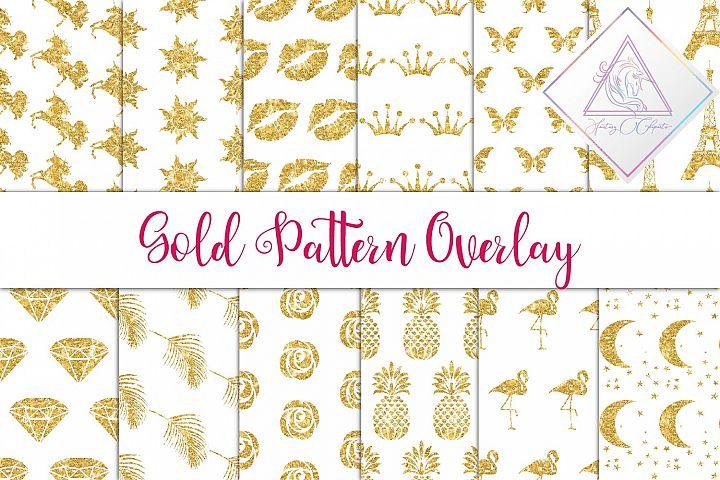 Gold Glitter Seamless Pattern Overlay Clipart