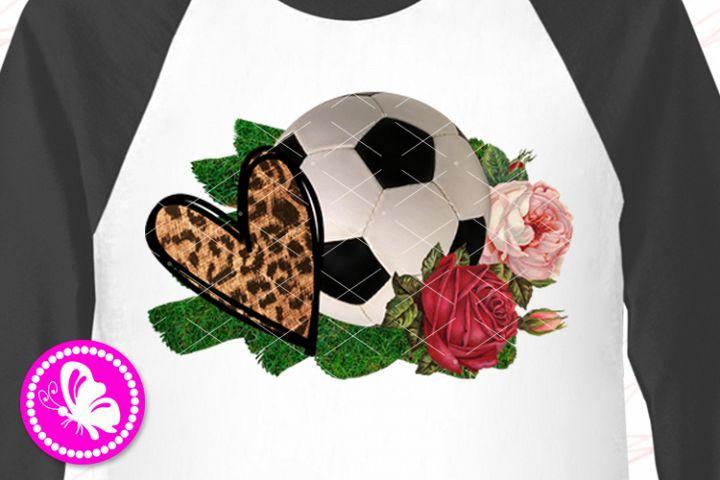 Soccer ball PNG Flowers Heart Sublimation design downloads