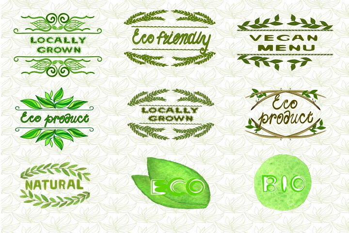 9 Eco Nature patterns and Logo Templates