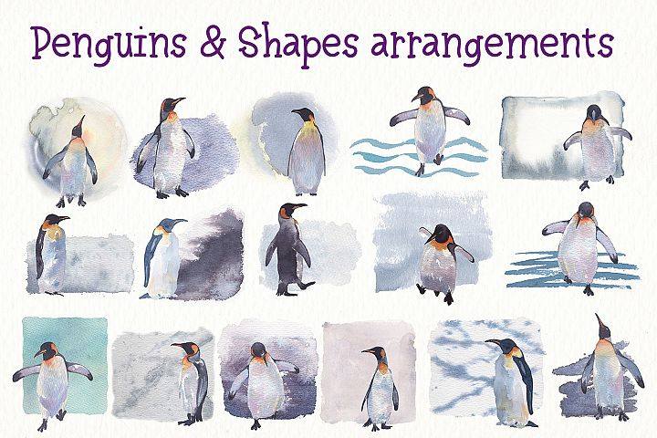 Penguins watercolor clipart example image 3