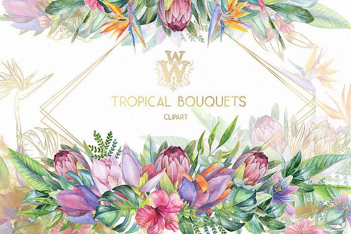 Watercolor tropical clip art, floral border clipart, summer
