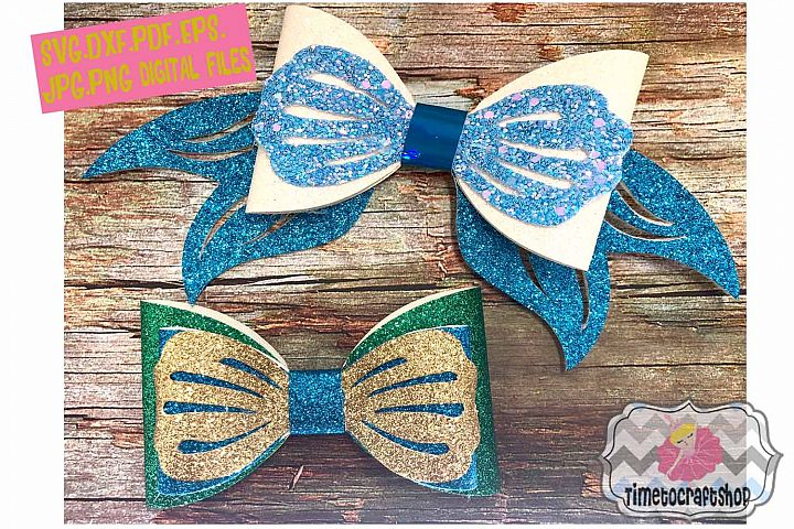 Mermaid Hair Bow Template. Svg. Dxf. Pdf. Eps. Jpg. Png