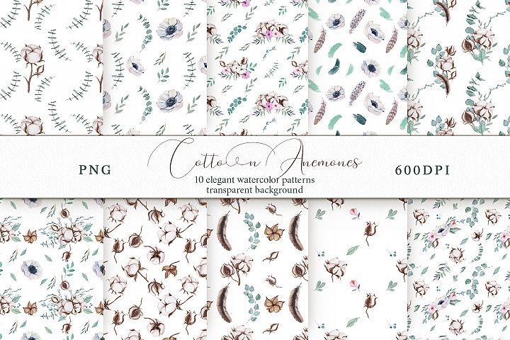 Cotton & Anemones Seamless Patterns
