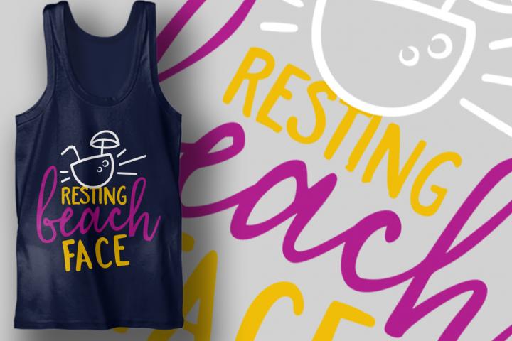Resting Beach Face   Summer SVG Cut File   Beach T-shirt Des