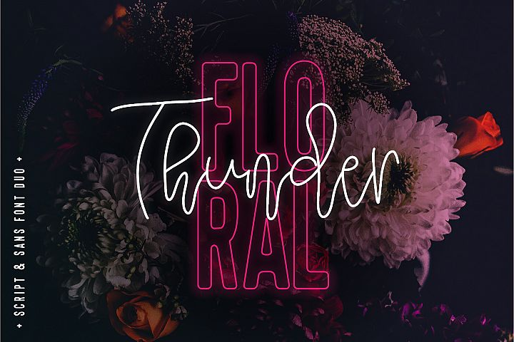 Floral Thunder Font Duo