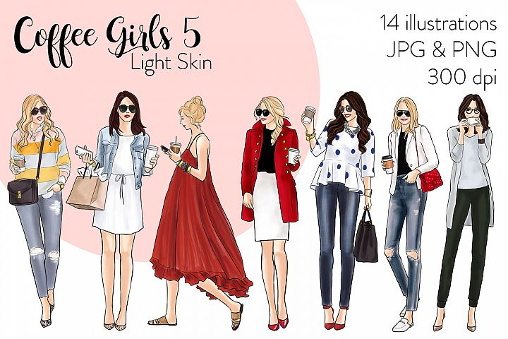 Fashion illustration clipart - Coffee Girls 5 - Light Skin
