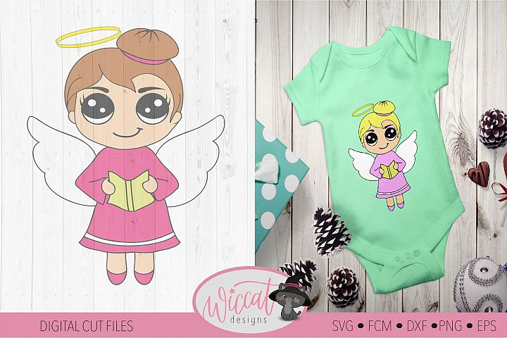 Singing Christmas angel, Kawaii angel, Cute angel girl,