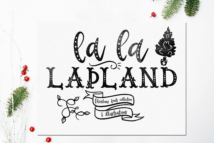 LaLaLapland. Christmas Fonts collection & illustrations