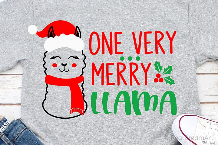 One Very Merry Llama SVG, DXF, PNG, EPS