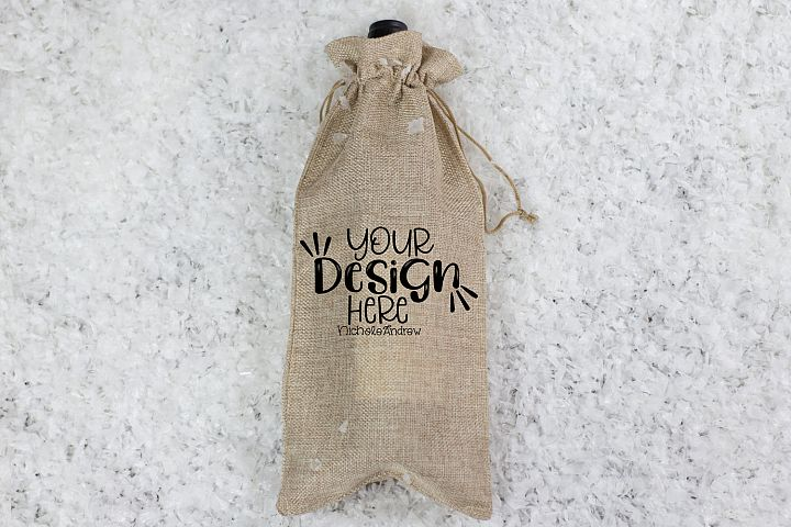 Winter Wine Bag Mockup, Styled Stock Photography