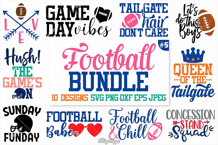 Football Mom SVG Bundle, 10 Designs SVG DXF PNG Cut Files