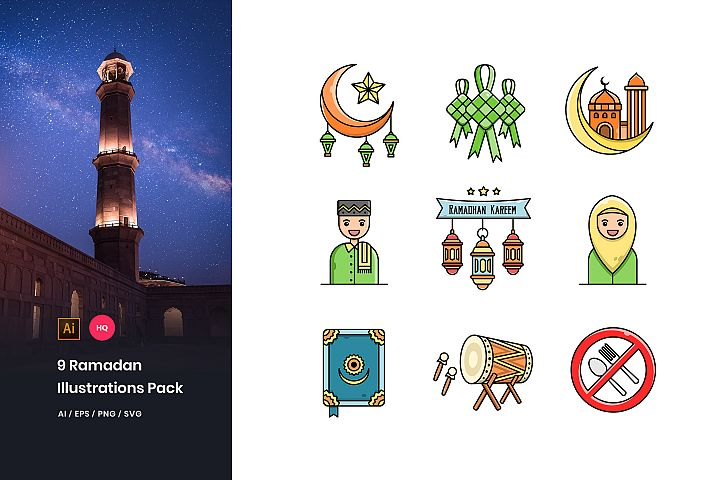 9 Ramadan Mubarak Illustrations Pack