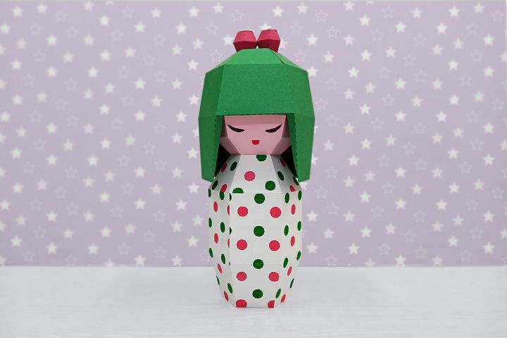 DIY Kokeshi doll - 3d papercraft