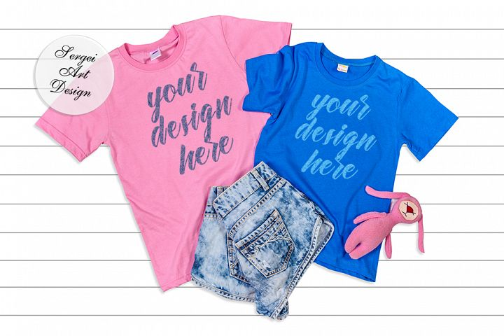 Blue and Pink Short Sleeve T-Shirt Flat Lay Mockup