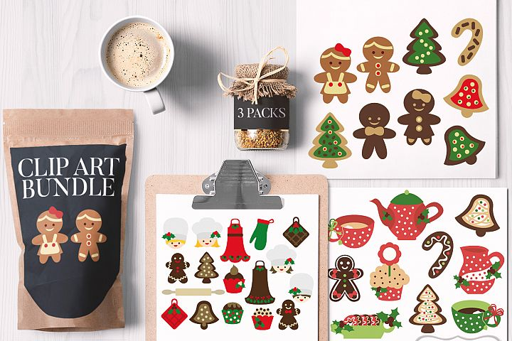 Christmas Kitchen Bundle, Baking cookies and Tea Party