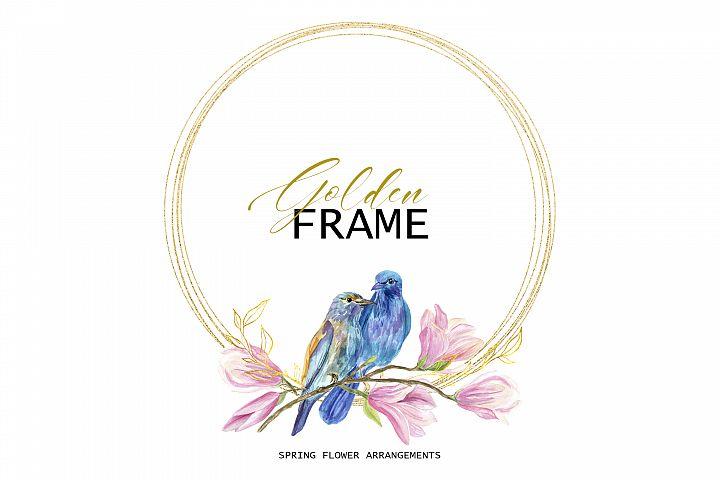 Golden Frame with birds in love