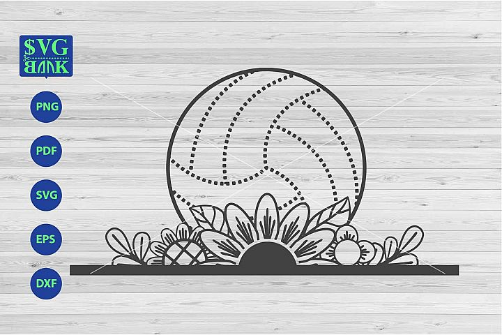 Volleyball svg, Volleyball with flower cut file dxf