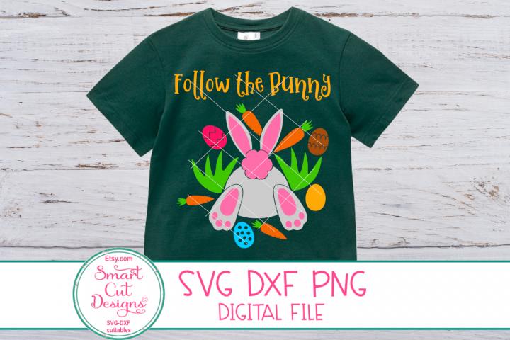Follow The Bunny SVG, Bunny Tail, SVG, Easter Kids SVG, DXF