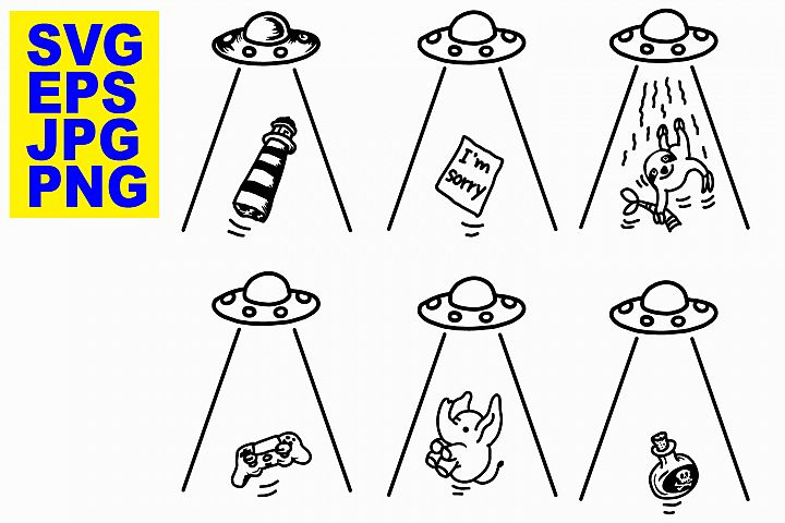 UFO Abduction Set 3 - EPS/SVG/JPG/PNG