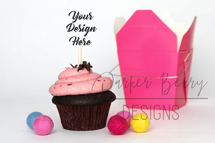 Berry Chocolate Cupcake Topper Pink Take out Box Mock up