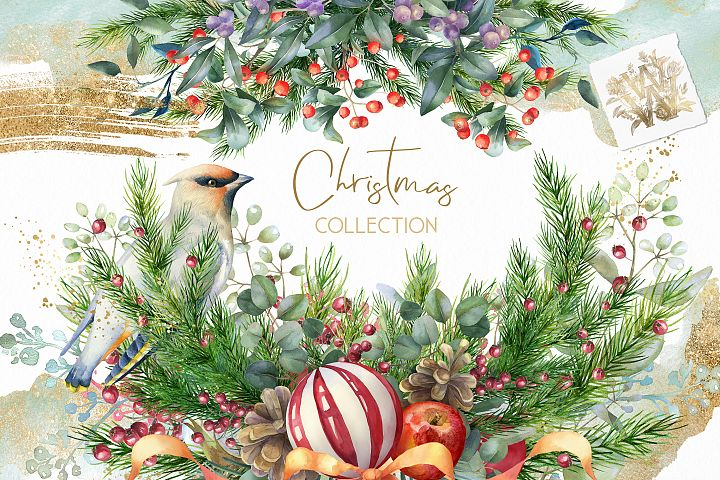 Watercolor floral Christmas collection