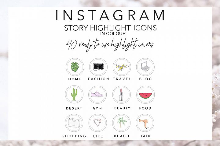 40 Instagram Story Highlights Icons in COLOUR, Hand Drawn