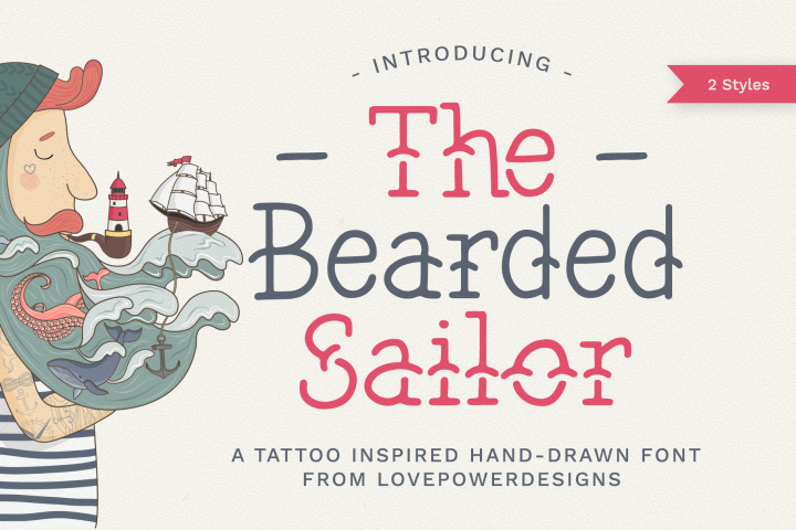 The Bearded Sailor - Tattoo Font / Line Font / Logo Font