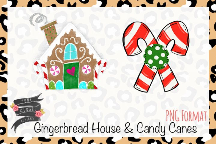 Gingerbread House and Crossed Candy Canes Clip art