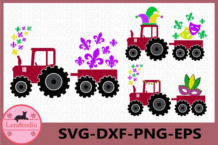 Mardi Gras Farm Tractor SVG, Farm Tractor Svg