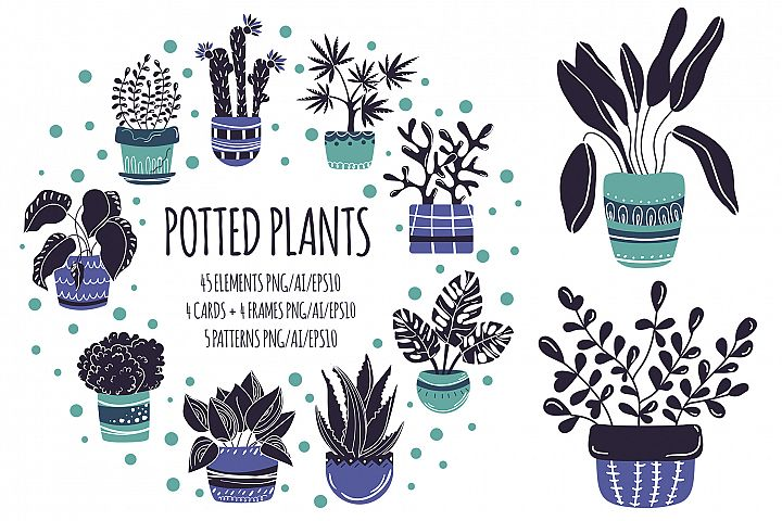 Potted Plants - Vector Collection