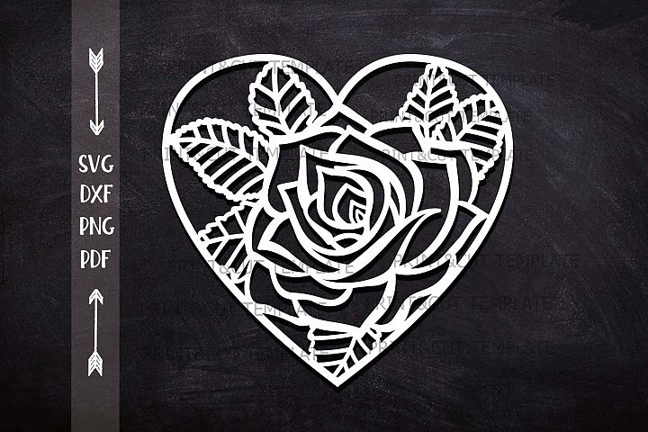 Heart Rose Floral cutting Wedding paper cut svg laser cut