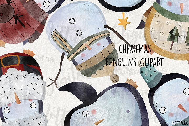 Watercolor Christmas Penguins clipart. Set of 8 png files.