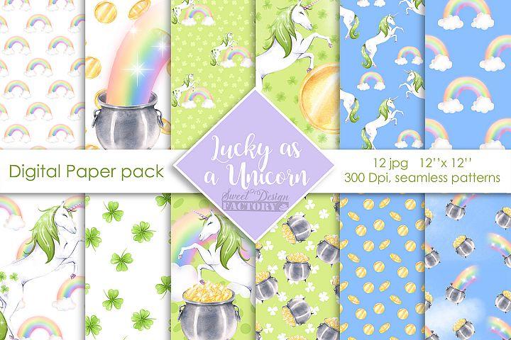 St Patricks day unicorns digital paper pack
