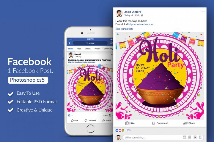 Holi Color Festival Facebook Post Banner