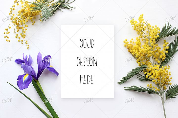 Spring Flowers Background & Card Mockup