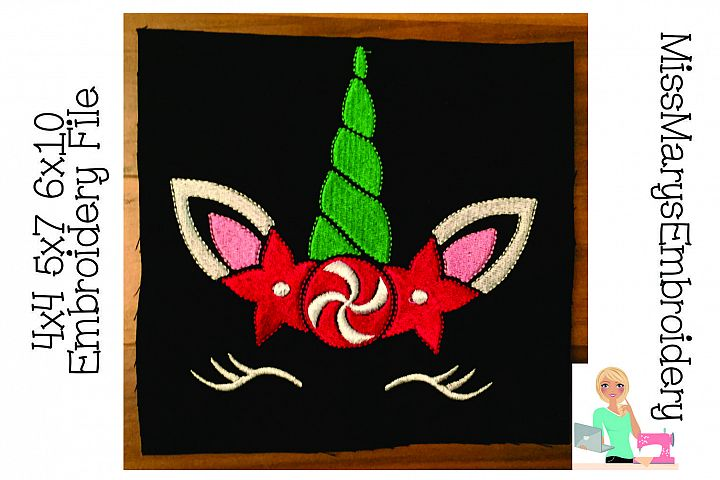 Christmas Unicorn Face Embroidery File