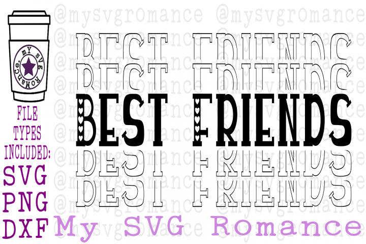 Best Friends - Stacked - Mirrored Word - SVG