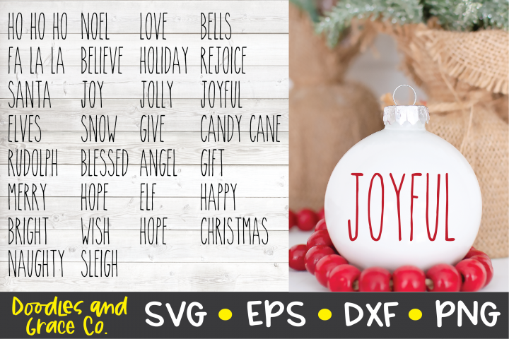 Rustic Christmas Words SVG - Christmas SVG - PNG - DXF - EPS