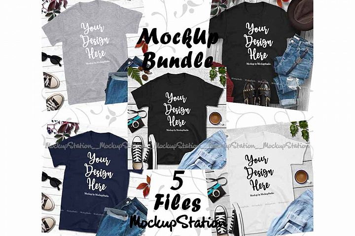 Fall Tshirt Mockup Bundle 5 Colors Gildan 64000 Shirt Flat