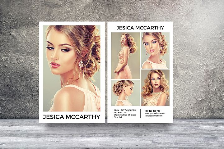 Modeling Comp Card Template, Ms Word & Photoshop Template