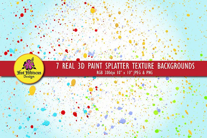 Real 3D Paint Splatter Coloured Texture Overlays Backgrounds