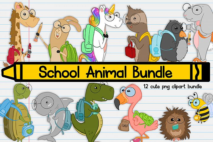 School Animals| Back to School Illustration| School Clipart