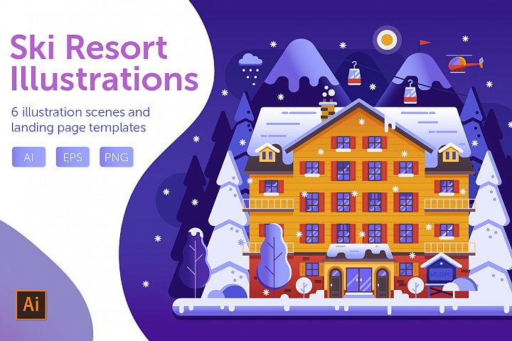 Winter Ski Resort Web Illustrations